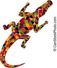 polygonal, vektor, crocodile., illustration.