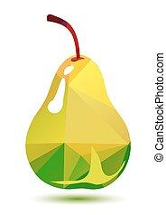polygonal, verde, pêra