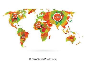 polygonal, verden kort