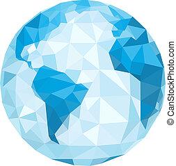 polygonal, vetorial, globe., ilustração