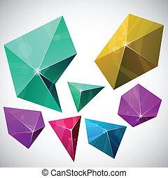 polygonal, vibrant, pyramid.