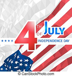 Polygonal waving American flag with congratulations on 4th of july, independence day