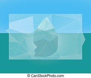 polygonal, wektor, trójkąt, -, płaski, niski, poly, theme., afisz, chorągiew, góra lodowa, flyer., zima, style., design.