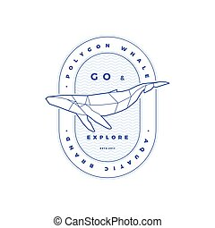Polygonal Whale Stamp on White