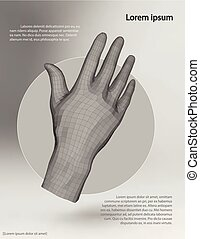 Polygonal wire frame hand. Vector illustration template on...