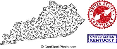 Polygonal Wire Frame Kentucky State Map and Grunge Stamps - ...