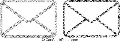 Polygonal Wire Frame Mesh Envelope and Mosaic Icon