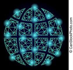 Polygonal Wire Frame Mesh Globe with Light Spots