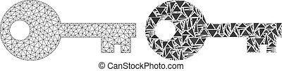 Polygonal Wire Frame Mesh Key and Mosaic Icon
