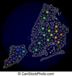 Polygonal Wire Frame Mesh Map of New York City with Colorful Light Spots