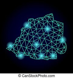 Polygonal Wire Frame Mesh Map of Vatican with Light Spots