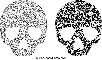 Polygonal Wire Frame Mesh Skull and Mosaic Icon