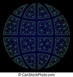 Polygonal Wire Frame Mesh Vector Globe