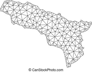 Polygonal Wire Frame Mesh Vector Map of Abkhazia