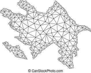 Polygonal Wire Frame Mesh Vector Map of Azerbaijan