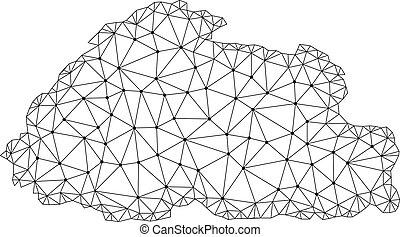 Polygonal Wire Frame Mesh Vector Map of Bhutan