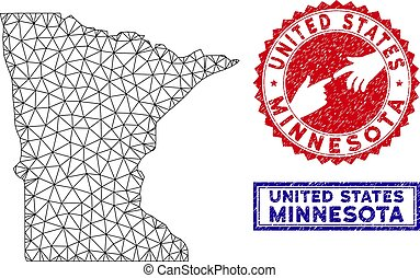 Polygonal Wire Frame Minnesota State Map and Grunge Stamps