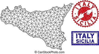 Polygonal Wire Frame Sicilia Map and Grunge Stamps - Network...