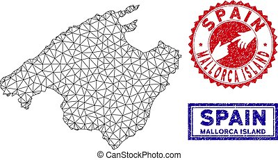 Polygonal Wire Frame Spain Mallorca Island Map and Grunge...