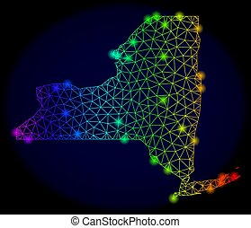 Polygonal Wire Frame Spectrum Mesh Vector Map of New York State with Colorful Glow Spots