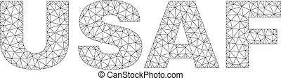 Polygonal Wire Frame USAF Text Caption - Mesh vector USAF...