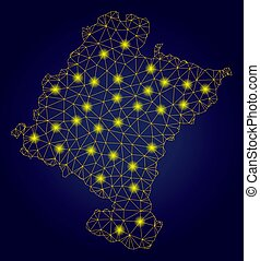 Polygonal Wire Frame Yellow Navarra Province Map with Bright...