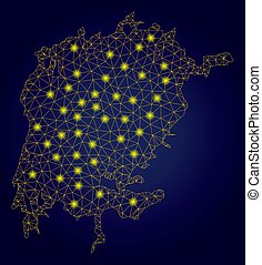 Polygonal Wire Frame Yellow Victoria Lake Map with Bright...