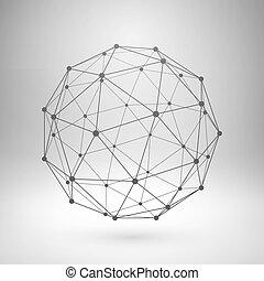 polygonal, wireframe, sphere., 噛み合いなさい