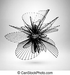 polygonal, wireframe, sphere., maglia
