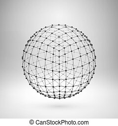 polygonal, wireframe, sphere., oczko