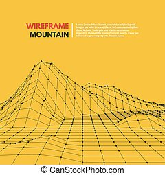 polygonal, wireframe, surface., maglia