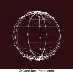 polygonal, wireframe, vektor, illustration, element