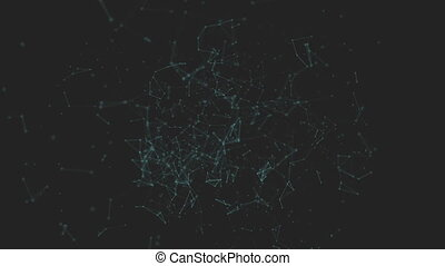 Polygonal with connecting dots and lines against black...