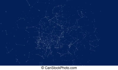 Polygonal with connecting dots and lines against blue ...