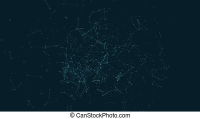 Polygonal with connecting dots and lines against cyan blue ...