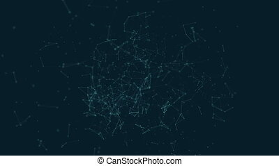 Polygonal with connecting dots and lines against cyan blue...