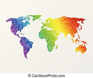 Polygonal world map - World map made of full-color mosaic of...