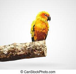Polygonal Yellow Parrot, Vector, Illustration, Eps File