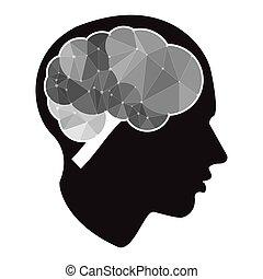polygone, business, créatif, cerveau, vecteur, head., icône, nuage, style