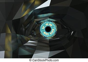 polygone, métallique, sci-fi, oeil, artificiel