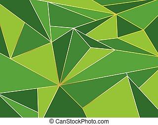 polygone, or, résumé, vert, artistique, fond, ligne géométrique