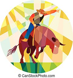 polygone, pointage, cow-boy, rodéo, bas, équitation haussier