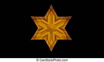 polygones, animation, jaune, texture, utilisation, en mouvement, mosaïque, david, ombre, étoile, lumière, fond, étoile, noir