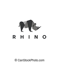 Polygons rhino low poly animal logo illustration, modern style