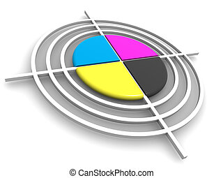 Polygraphic target. CMYK. 3d