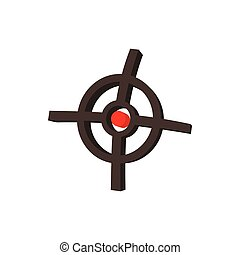 Polygraphic target icon, cartoon style
