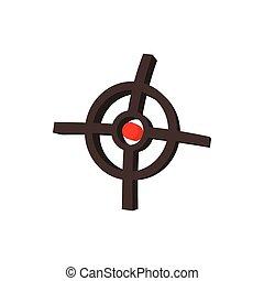Polygraphic target icon, cartoon style