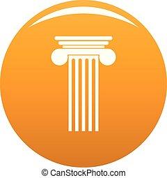 Polyhedral column icon vector orange