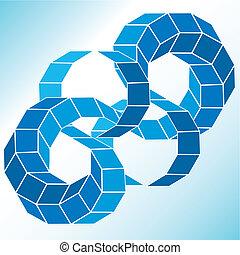polyhedral, estrella, figura, gradiente, vector, 3d.