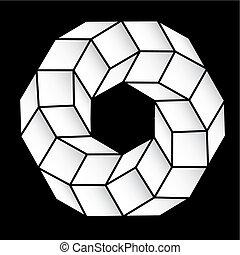 polyhedral, figura, de, um, estrela, com, gradiente,...